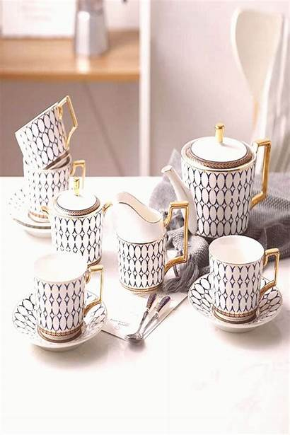 Coffee Cup Saucer Tea Bone Pot European