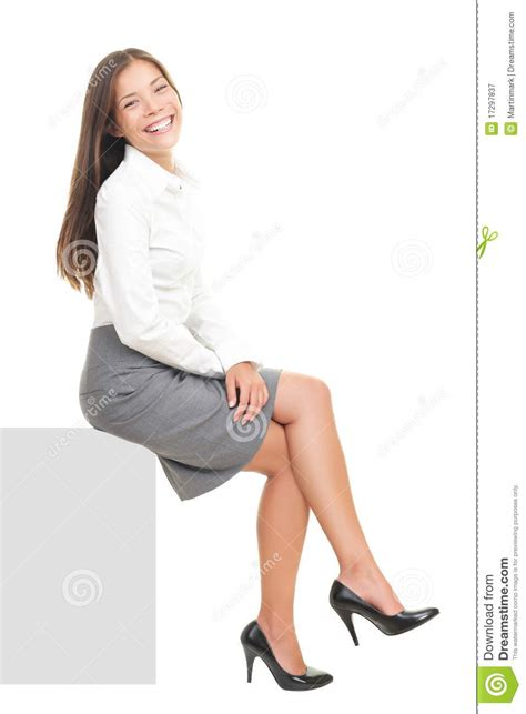 Business Woman Sitting On Blank Sign Stock Image Image