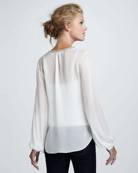 sheer white blouse elizabeth and miriam sheer silk blouse in white lyst