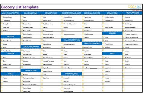 grocery list template categorized dotxes