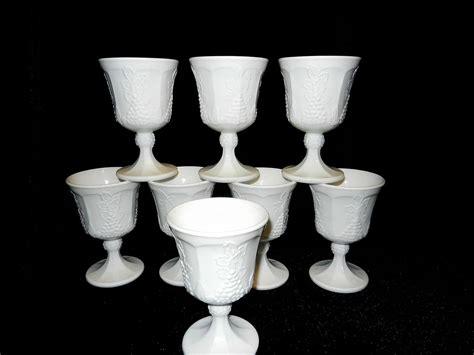 milk glass ls vintage milk glass goblets harvest pattern indiana glass