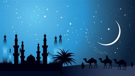 night desert moon silhouette camels artwork makkah caravan