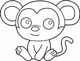 Monkey Coloring Clip Cute Baby Clipart Line Sweetclipart sketch template