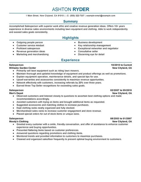 Salesperson Resume Sle by Retail Salesperson Resume Exles Created By Pros