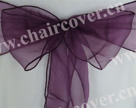 3552 ultra plum 50pcs new sparkle organza chair sashes