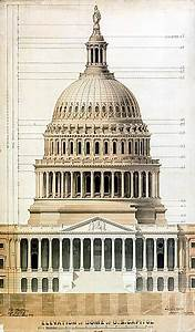 U S  Capitol Architectural Drawing By Thomas U  Walter