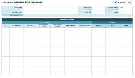 stakeholder register template free stakeholder analysis templates smartsheet