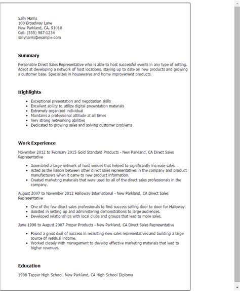 Successful Cover Letter Sles by Professional Direct Sales Representative Templates To