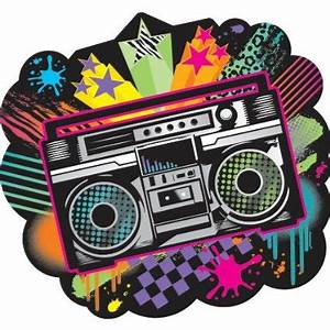 Totally Awesome 80s Banner Boom Box Cut Out 80s Theme Party
