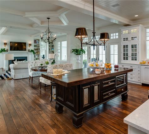 open floor plan kitchen coastal home with traditional interiors home bunch