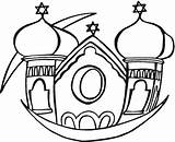 Synagogue Coloring Pages Clipart Template Clip Buildings Cliparts Library sketch template