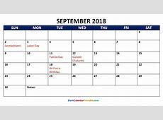 Inspirational Sample September 2018 Calendar with Holidays
