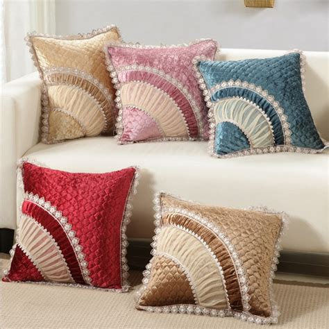 Luxurious Velvet Home Decor Cushion Velour With Lace