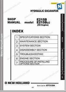 New Holland Excavator E215b Hs Afme En Service Manual