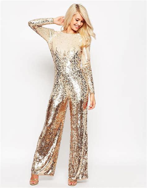 sequins jumpsuit asos ombre stripe sequin jumpsuit in metallic lyst