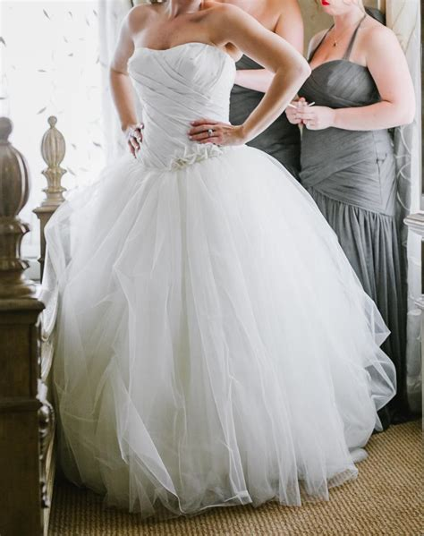 Vera Wang Ivory Taffeta On Top Tulle On Bottom White