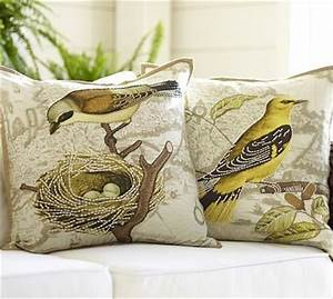 virginia bird embroidered map pillow cover 20quot sq With bird pillows pottery barn