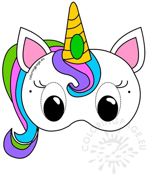child unicorn colouring mask coloring page