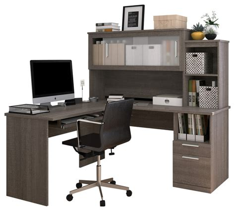 gray desk with hutch bestar modern bark gray l shaped desk and hutch with
