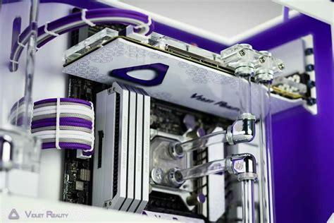 white  purple rig gaming computer   pc gaming