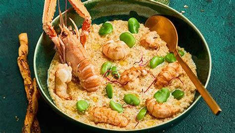 recette risotto de quinoa aux langoustines  feves