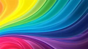 Download Wallpaper 1366x768 Rainbow stripes abstract wave ...