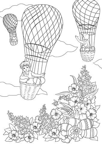 boys  rising   sky  hot air balloons  easter eggs coloring page  printable