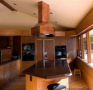 copper island kitchen hood frank lloyd wright style With kitchen cabinets lowes with frank lloyd wright metal wall art