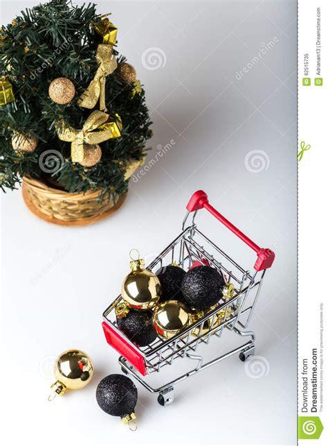 shopping cart christmas tree christmas shopping cart with christmas tree stock photo 1406