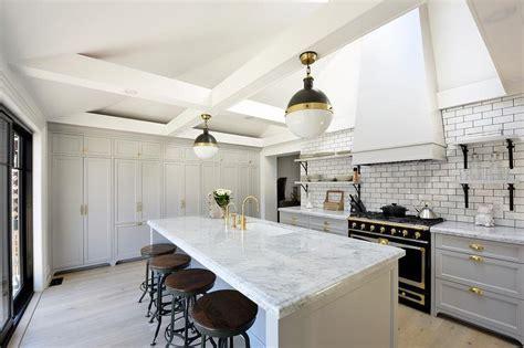 white  gray kitchen  black french stove