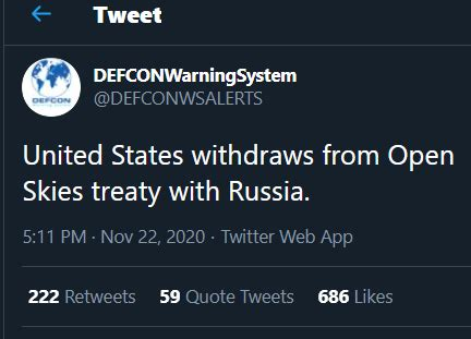 United States withdraws from Open Skies treaty with Russia ...