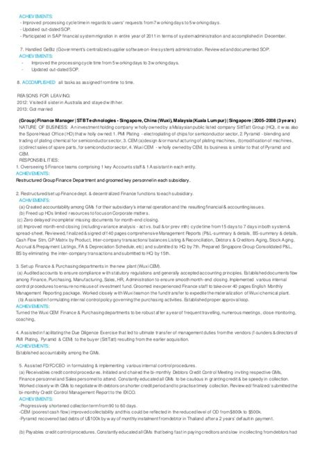 Achievements In Resume For Administration by Tze Sim Resume With Achievements In Finance
