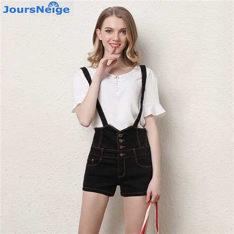 Suspender Denim Shorts high waist denim shorts 2017 new slim suspenders