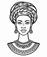 African Woman Turban Portrait Young Vector Drawing Illustration Animation sketch template