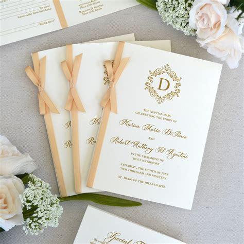 Wedding Program with Honey Satin Ribbon Bow - Ivory Wedding Program - Church Program - Folding ...