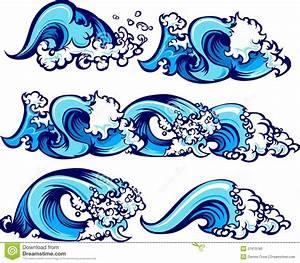 Crashing Water Waves Vector Illustrations Stock Vector ...