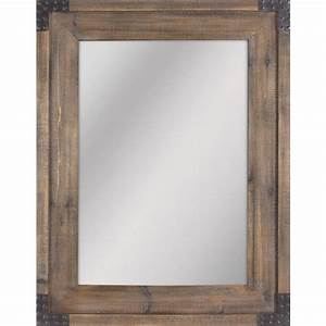 Shop allen roth reclaimed wood beveled wall mirror at for Mirror wood frame