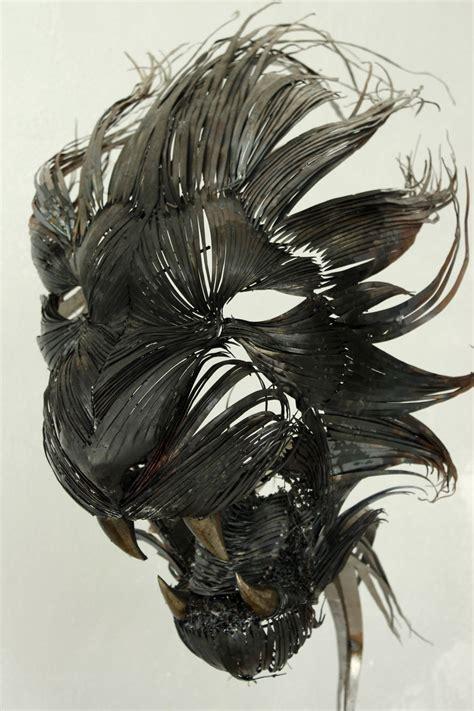hand craft animal masks  hammered steel bored panda