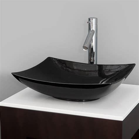 arista vessel sink  wyndham collection black granite