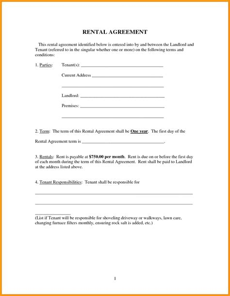 template rental agreement template word document