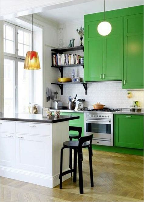 Bright Kitchen With Green Cabinets  Cook's Room  Pinterest