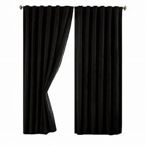 Absolute Zero Total Blackout Black Faux Velvet Curtain