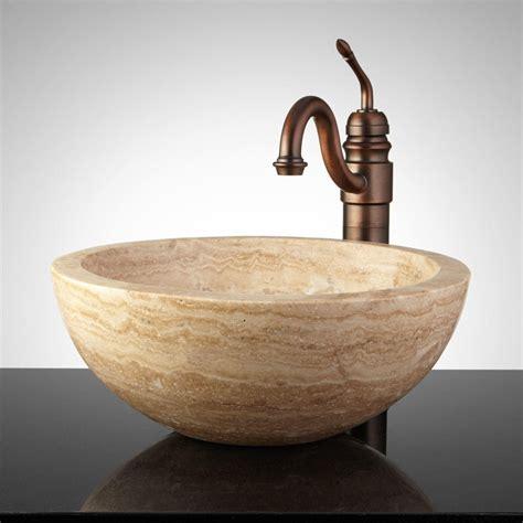 travertine sink round polished travertine vessel sink with offset rim bathroom sinks bathroom