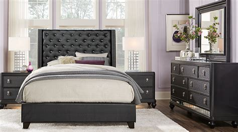 Sofia Vergara Bedroom Collection by Sofia Vergara Black 5 Pc Upholstered Bedroom