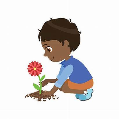 Planting Flower Boy Flowers Clipart Cartoon Clip