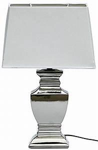 Shabby Chic Lampen : elsa lampe tischlampe shabby chic tischleuchte silber wei lampen eckig stilsicher leben ~ Orissabook.com Haus und Dekorationen