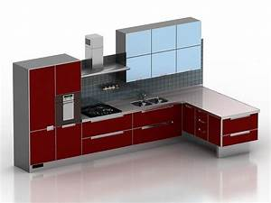 Modern red kitchen design 3d model 3dsmax3ds files free for Kitchen furniture 3ds max free