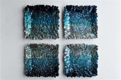 black  teal ombre modular wall sculpture  mira