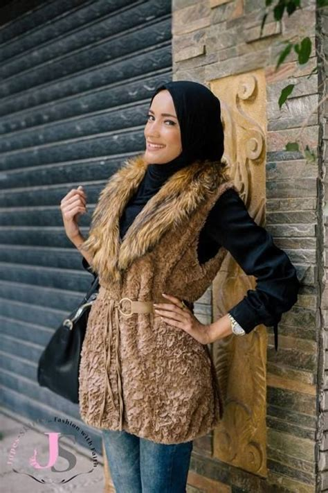 fur vest hijab  winter hijab fashion  egypt http