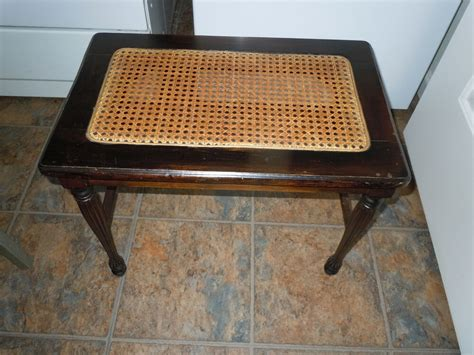 Antique Cane Bottom Vanity Bench Piano Seat Stool Chair
